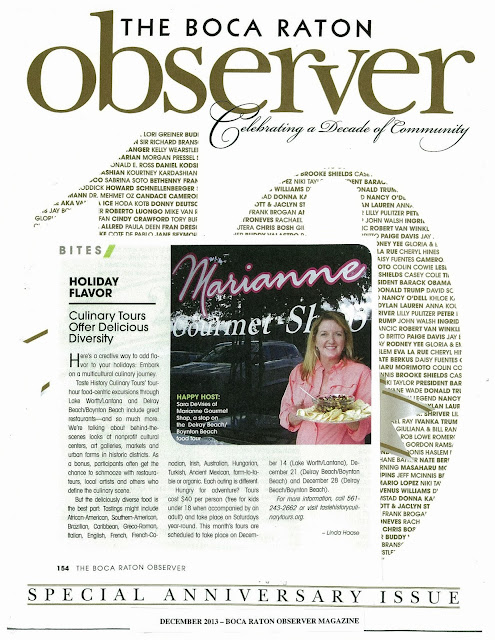 Taste History Culinary Tours in Boca Raton Observer Magazine December 2013 Issue