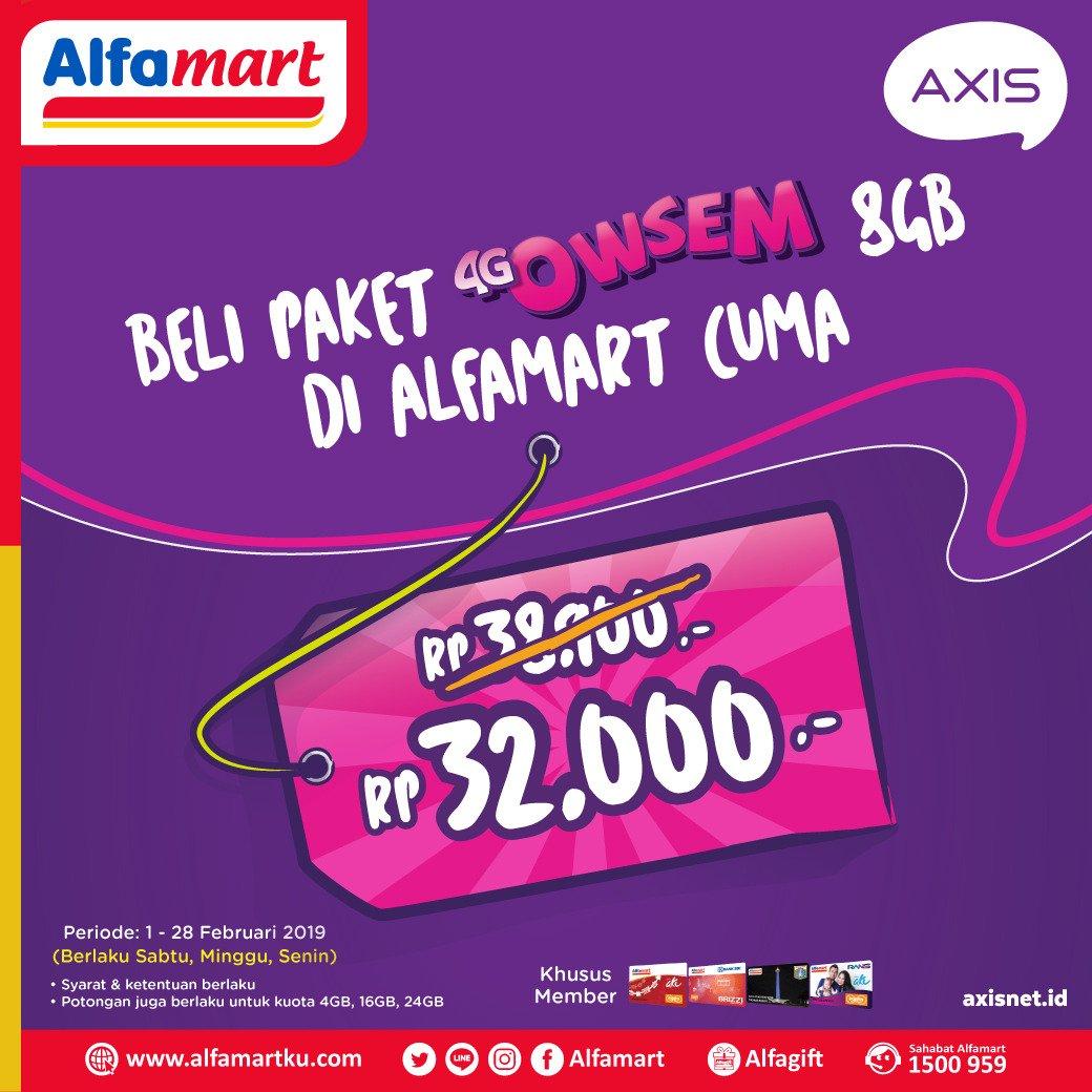 #Alfamart - #Promo Paket Axis Owsem 8GB Hanya 32Ribu (s.d 28 Feb 2019)