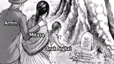 Ternyata Yang Bersama Mikasa Ke Makam Eren Adalah Armin dan Anak Angkatnya!
