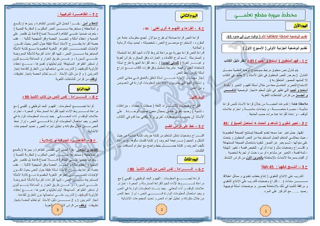 مطوية دليل تنظيم و تسيير أنشطة اللغة العربية وفق التوزيع الزمني للسنة الثالثة إبتدائي الجيل الثاني