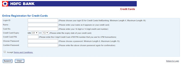 hdfc credit card register