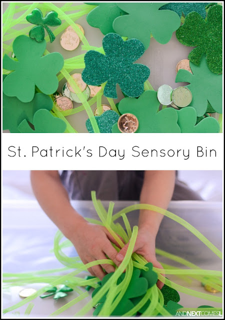 Simple St. Patrick's Day sensory bin for kids from And Next Comes L