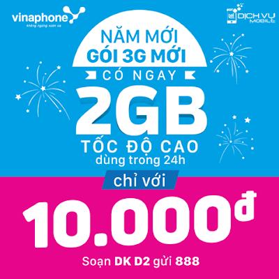 Chi tiết cách đăng ký gói 3g D2 của Vinaphone Thời gian triển khai: - Áp  dụng từ ngày 02/01/2016 trên phạm vi cả nước. Đối tượng áp dụng: