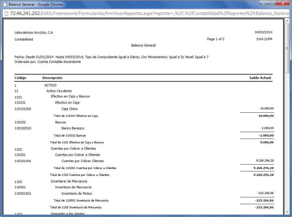 Balance General en eFactory - Configuración del Plan de Cuentas en eFactory Contabilidad