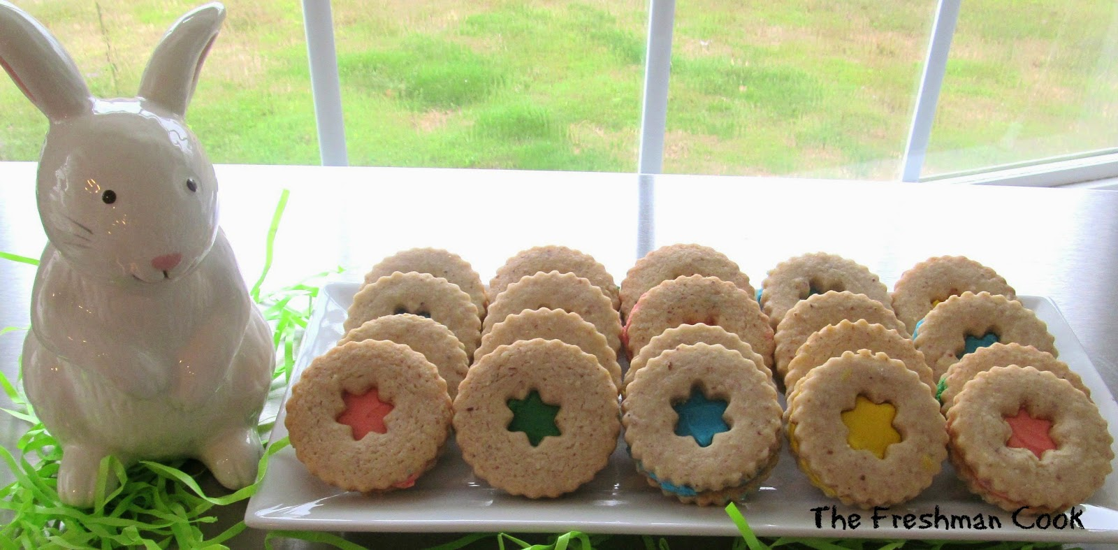 Linzer Buttercream Cookies for spring