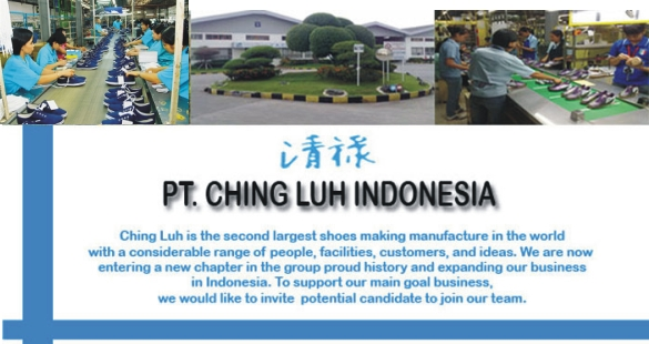 Lowngan Kerja Terbaru PT Ching Luh Indonesia Terbaru 2018 Lulusan D3 & S1 Dengan Posisi Warehouse Management, Environment Officer, People Development Officer, HR Adminitrasi, Staff Accounting
