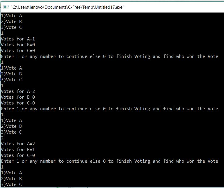 Voting System using Static storage Class in C