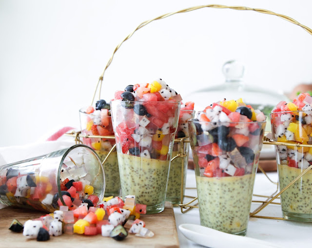 Mango Chia Pudding with Micro Fruit Salad & Agar Jelly