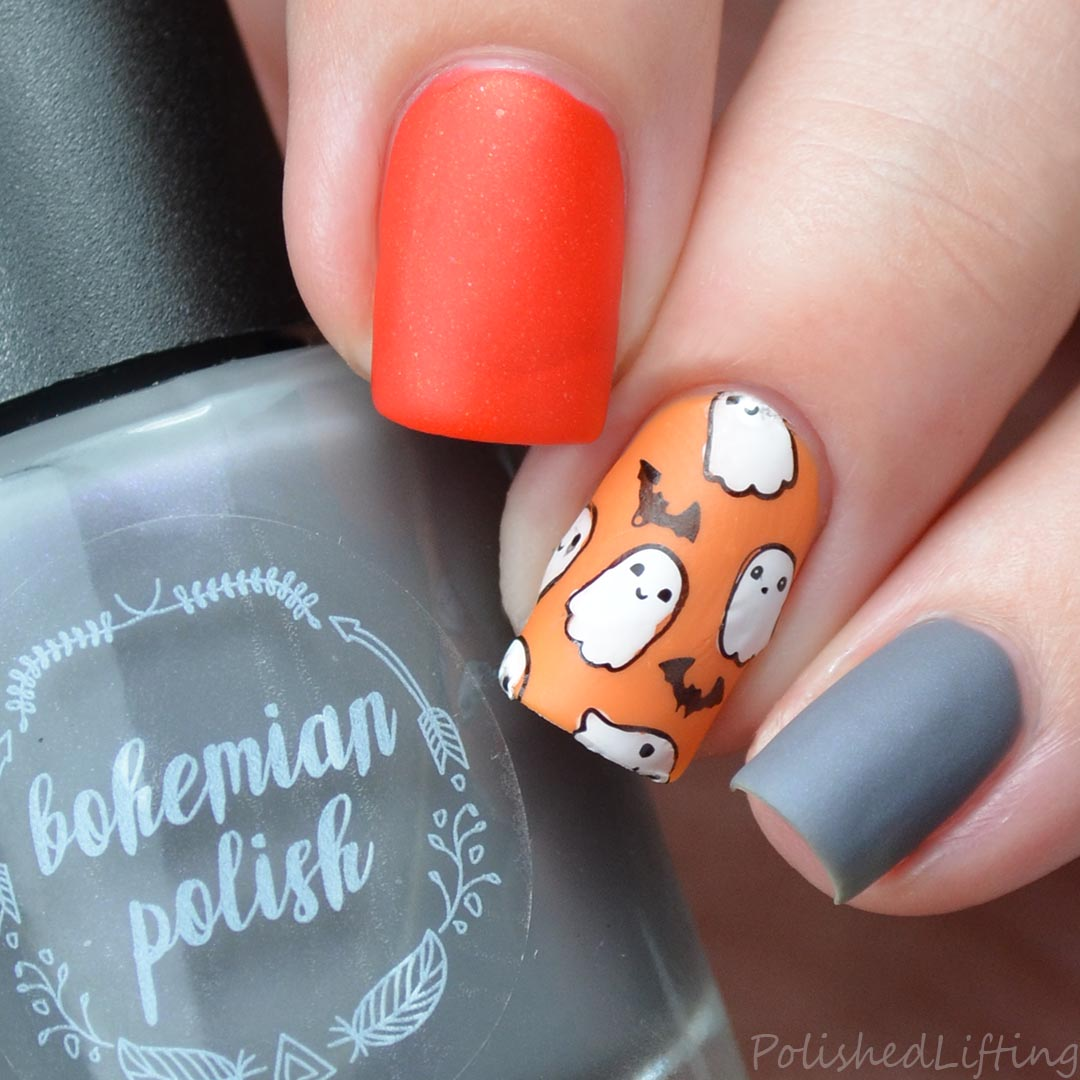 Polished lifting cute ghosts bats feat bohemian polish ghost and bat themed halloween nail art prinsesfo Gallery