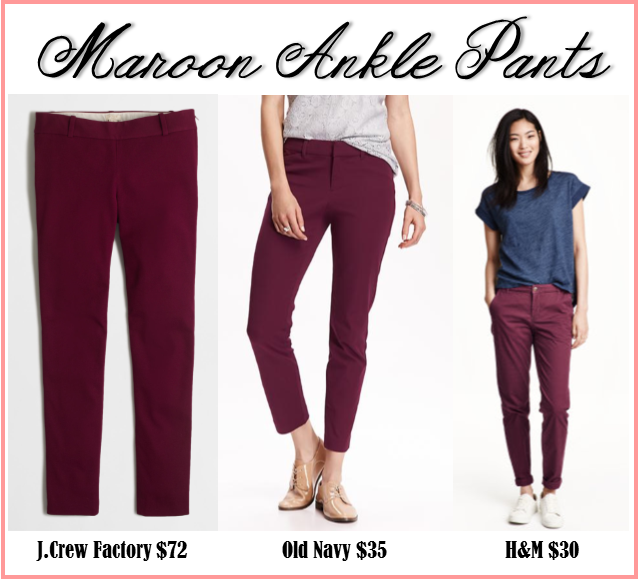 J.Crew fall fashion for less maroon ankle pants