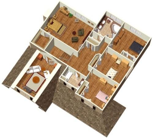 Model Gambar Denah Rumah Sederhana 4 Kamar Tidur Terlihat Minimalis