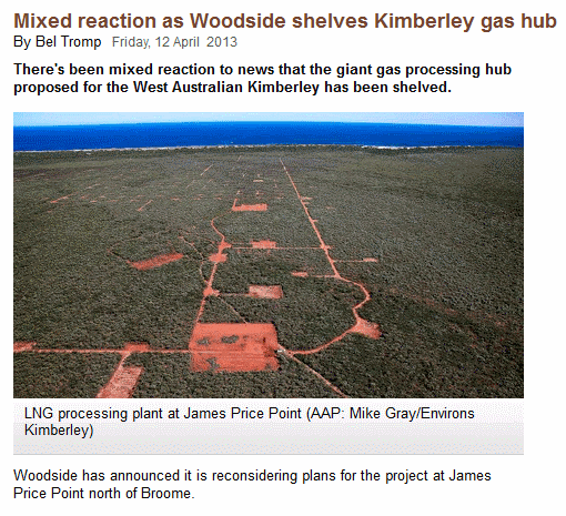 Mixed reaction as Woodside shelves Kimberley gas hub