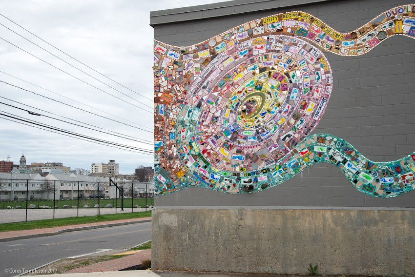 Portland, Maine USA April 2017 photo by Corey Templeton of the East Bayside Community Mosaic Mural at the corner of Fox and Anderson Streets.