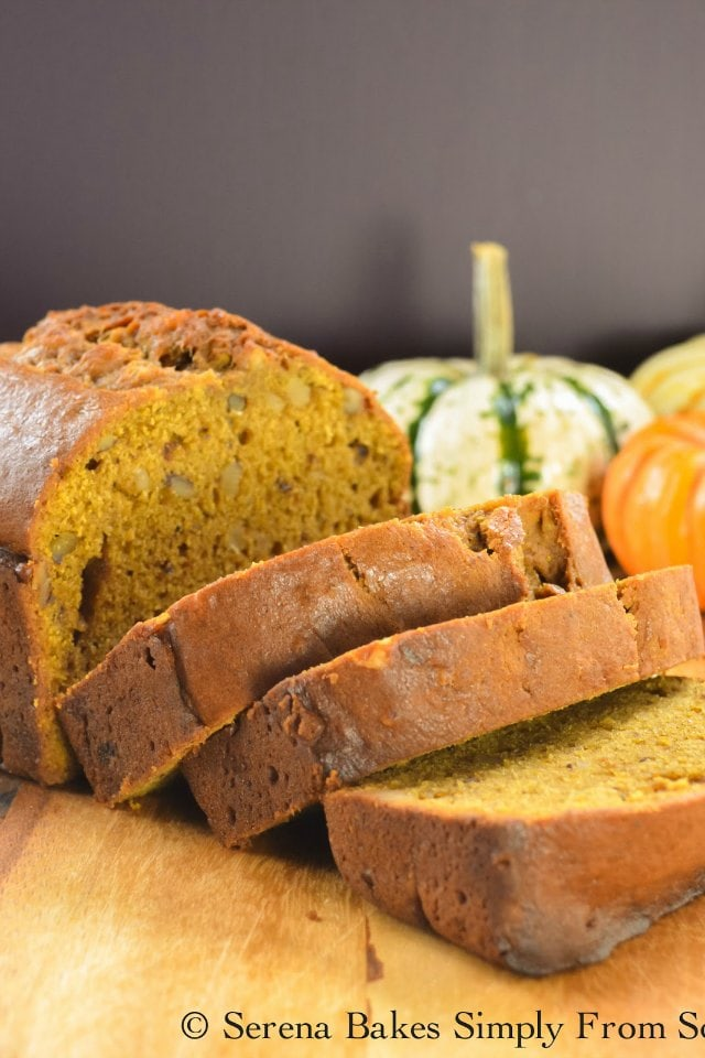 Moist Pumpkin Bread is perfect spiced with Cinnamon, Ginger, nutmeg, and allspice from Serena Bakes Simply From Scratch.