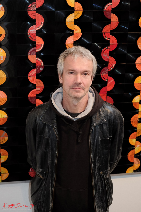 Artist portrait -  Manne Schulze at the opening of 'Vinyl Wonderworld' Danks St Sydney. Photo by Kent Johnson.
