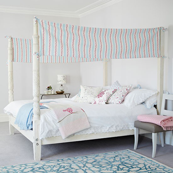 Four Poster Bed with Clarke and Clarke Awning and Feminine accessories