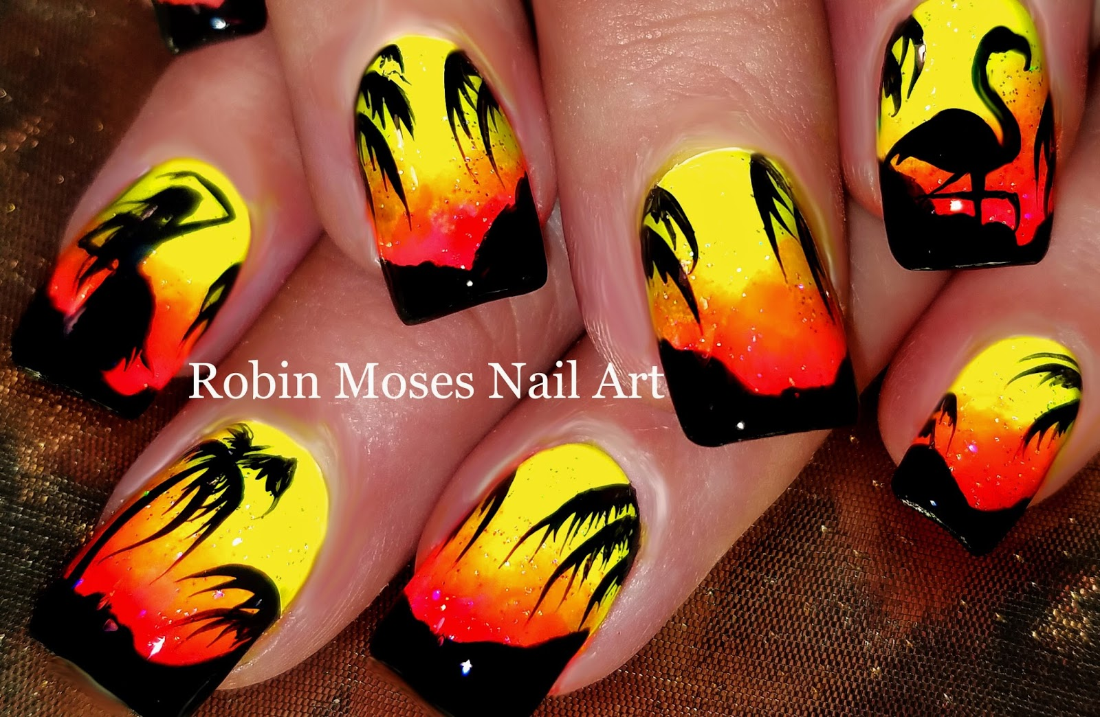 Nail Art by Robin Moses: Super Bright DIY Tropical Sunset Nails with ...