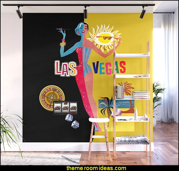 Loving Las Vegas - vintage black & gold Wall Mural  Casino Theme Decorations - Las Vegas Casino Themed decorating ideas - casino themed bedroom decorating ideas - Casino Wall Decorations -   Las Vegas Themed Bedroom Decor -  Casino Party Supplies - vegas themed bedroom ideas -