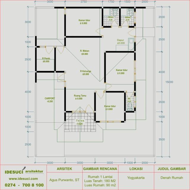 gambar denah rumah minimalis tipe 90 2