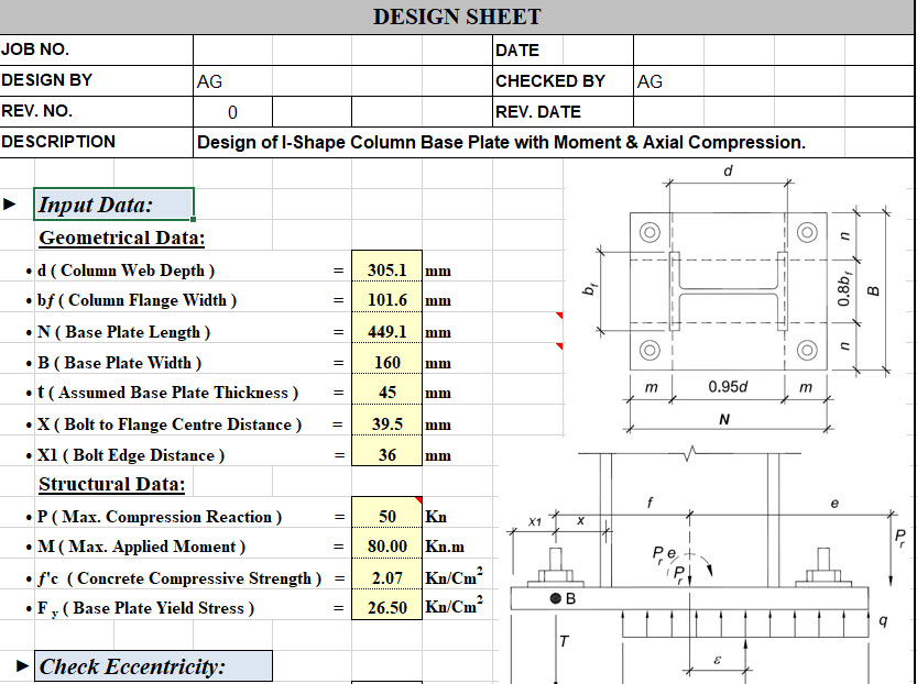 Base Plate Design For Moment And Axial Compression