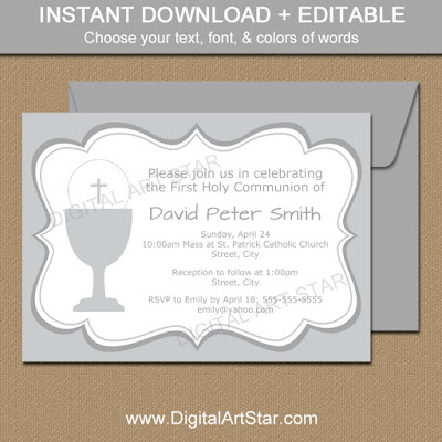 silver first holy communion invitation printable for boys & girls