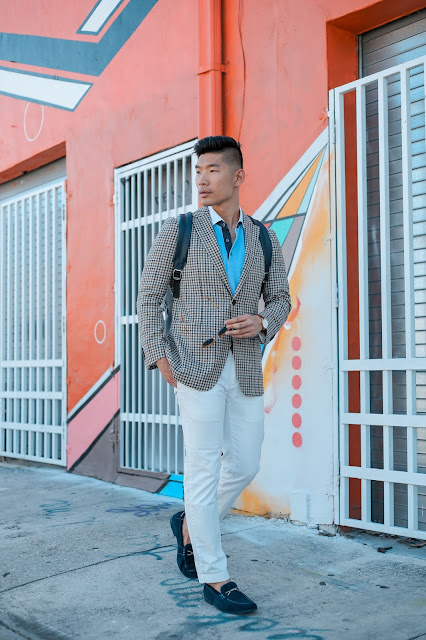 Men's Summer Style, Checked Blazer, Persol Sunglasses, Robert Graham Loafers,  and Uri Minkoff Backpack