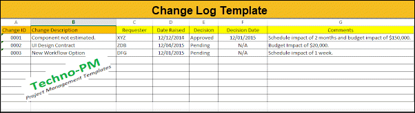Change Log Template, Change Register Excel Template
