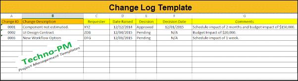 Change Log Template, Change Register Excel Template