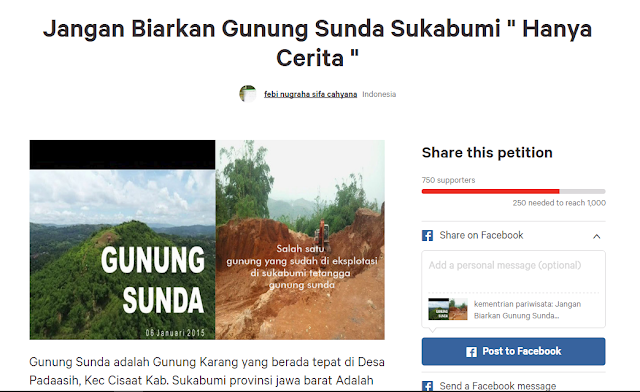 """Petisi Online : Jangan Biarkan Gunung Sunda Sukabumi """"Hanya Cerita"""""""
