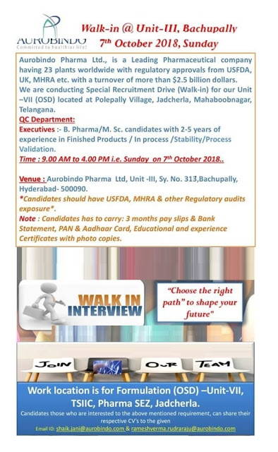 Aurobindo Pharmaceuticals Walk In Interview For B.Pharm, M.Sc at 7 October