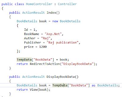 TempData controller example to pass data