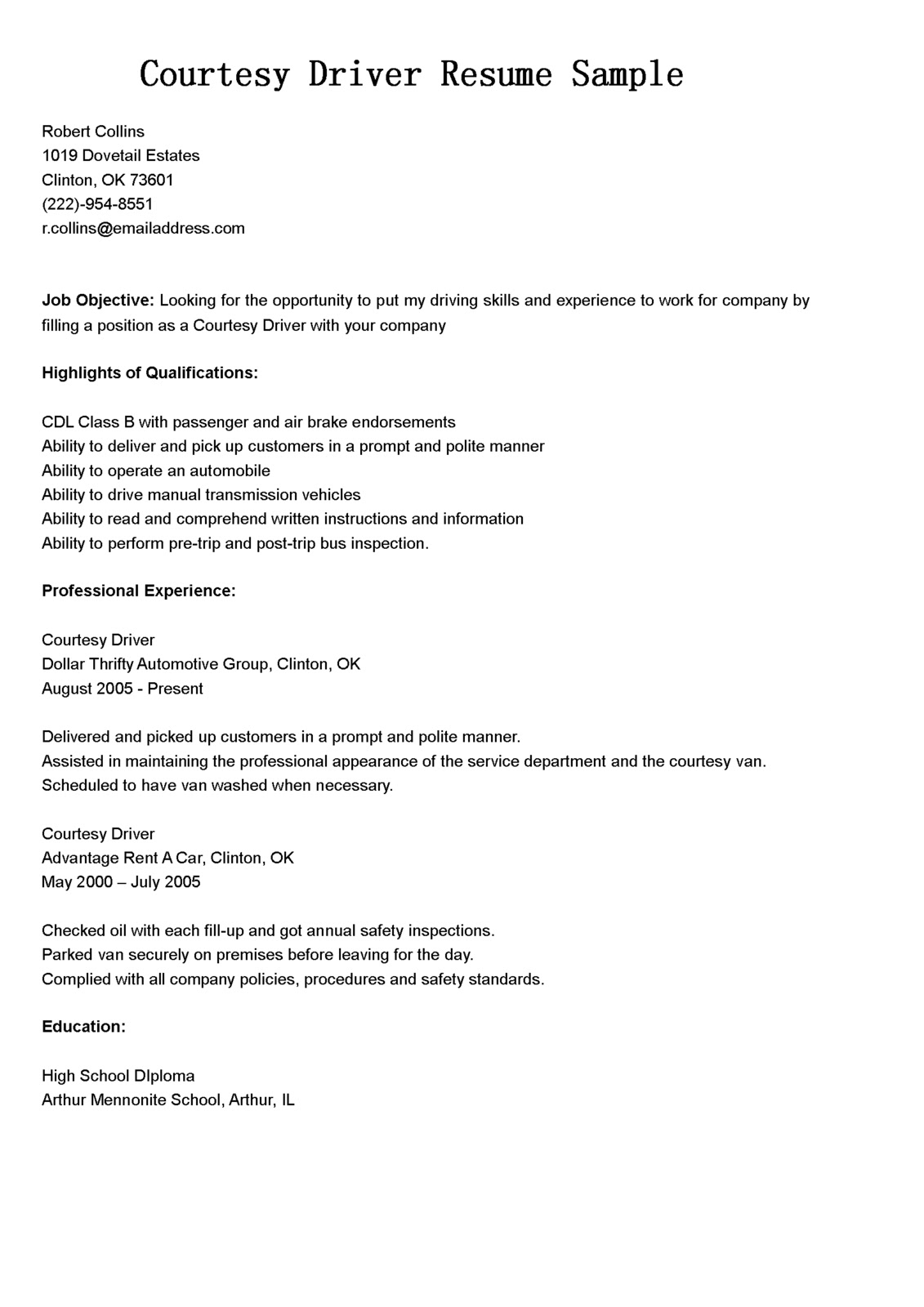 Sample Resume Objectives For Forklift Operator Driver Resumes