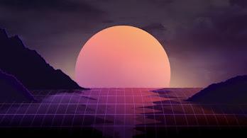 Abstract, Neon, Sunset, Landscape, Digital Art, Minimalist, 4K, #54