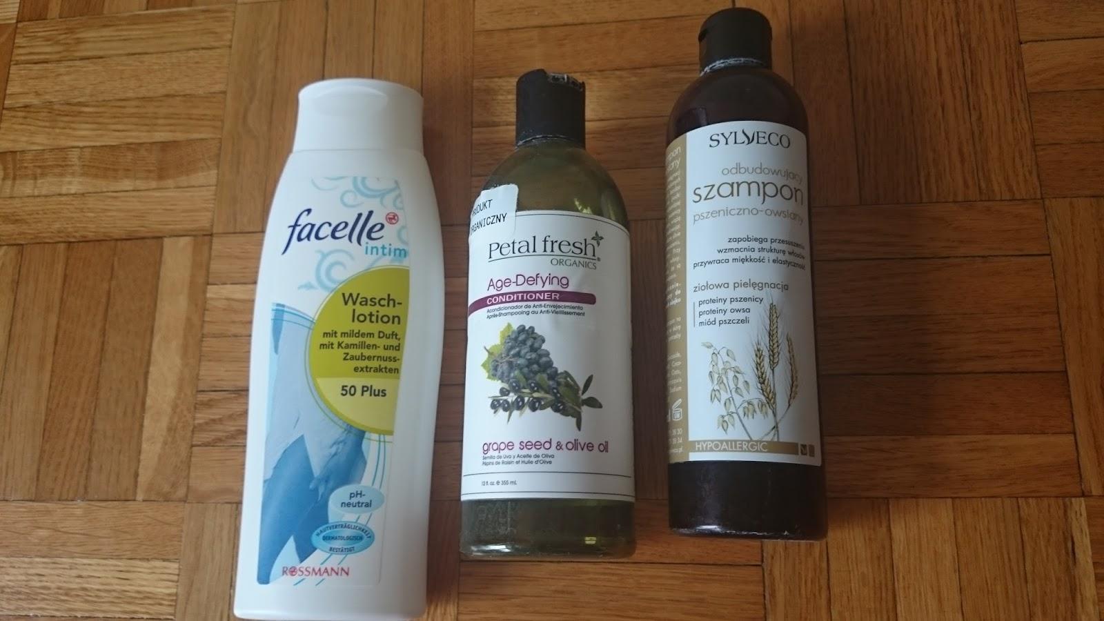 Facelle, Petal Fresh odżywka do włosów Age-Defying, Sylveco szampon pszeniczno-owsiany