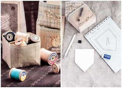 Caja o cesta construidas y fabricadas solo con tela sin cartonajes