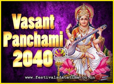 2040 Vasant Panchami Puja Date & Time, 2040 Vasant Panchami Calendar