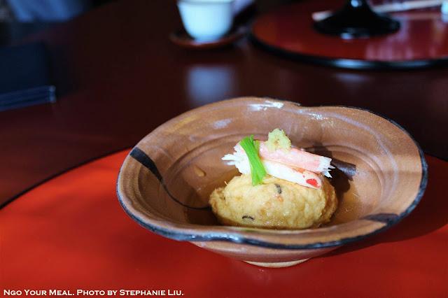 Simmered Crab and Tofu Ball at Tokyo Shiba Tofuya Ukai in Tokyo, Japan