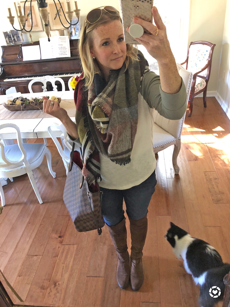 baseball tee with blanket scarf and over the knee boots