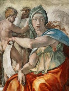 tableau de la chapelle Sixtine : les sybilles de Delphe - Michelangelo (Buonarroti)