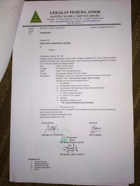 contoh undangan pengajian kepada polres jepara