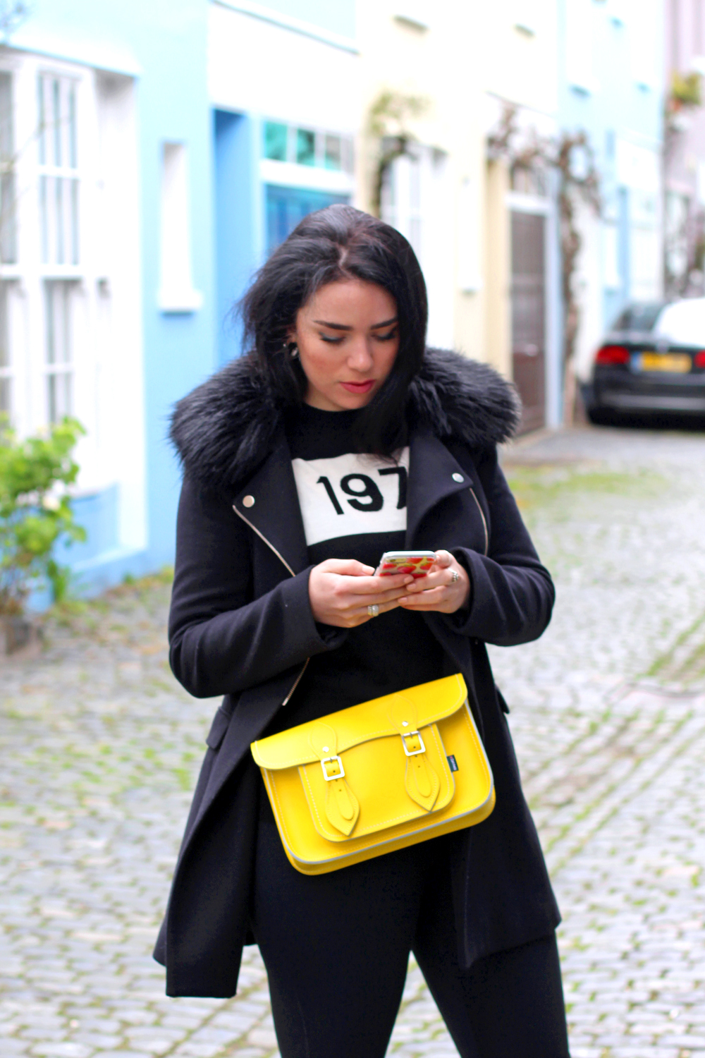 Black white & yellow outfit on Emma Louise Layla - London style blogger