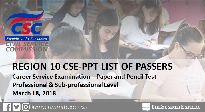 CSC outs March 2018 civil service exam results Region 10 within 60 days