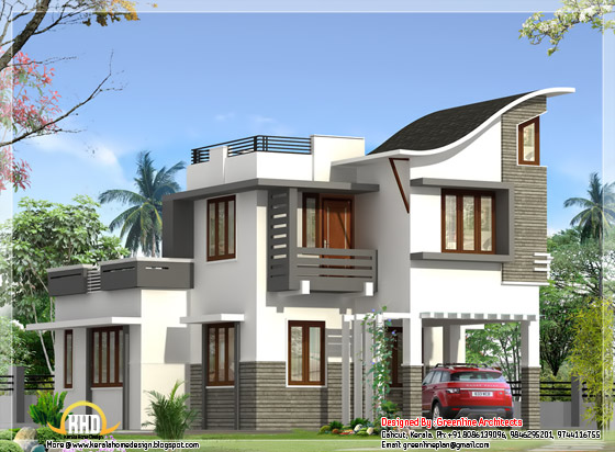 Contemporary Indian style villa elevation - 1900 square feet