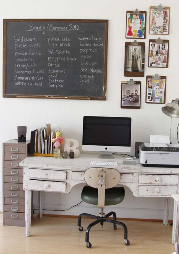 white painted furniture, vintage style work space