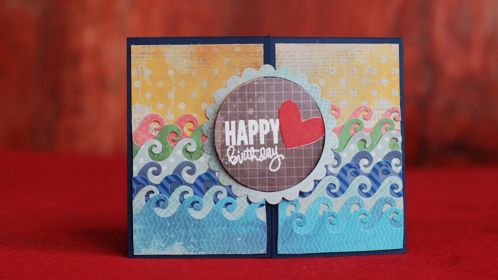 gate fold card under the sea using digital clip art set - front