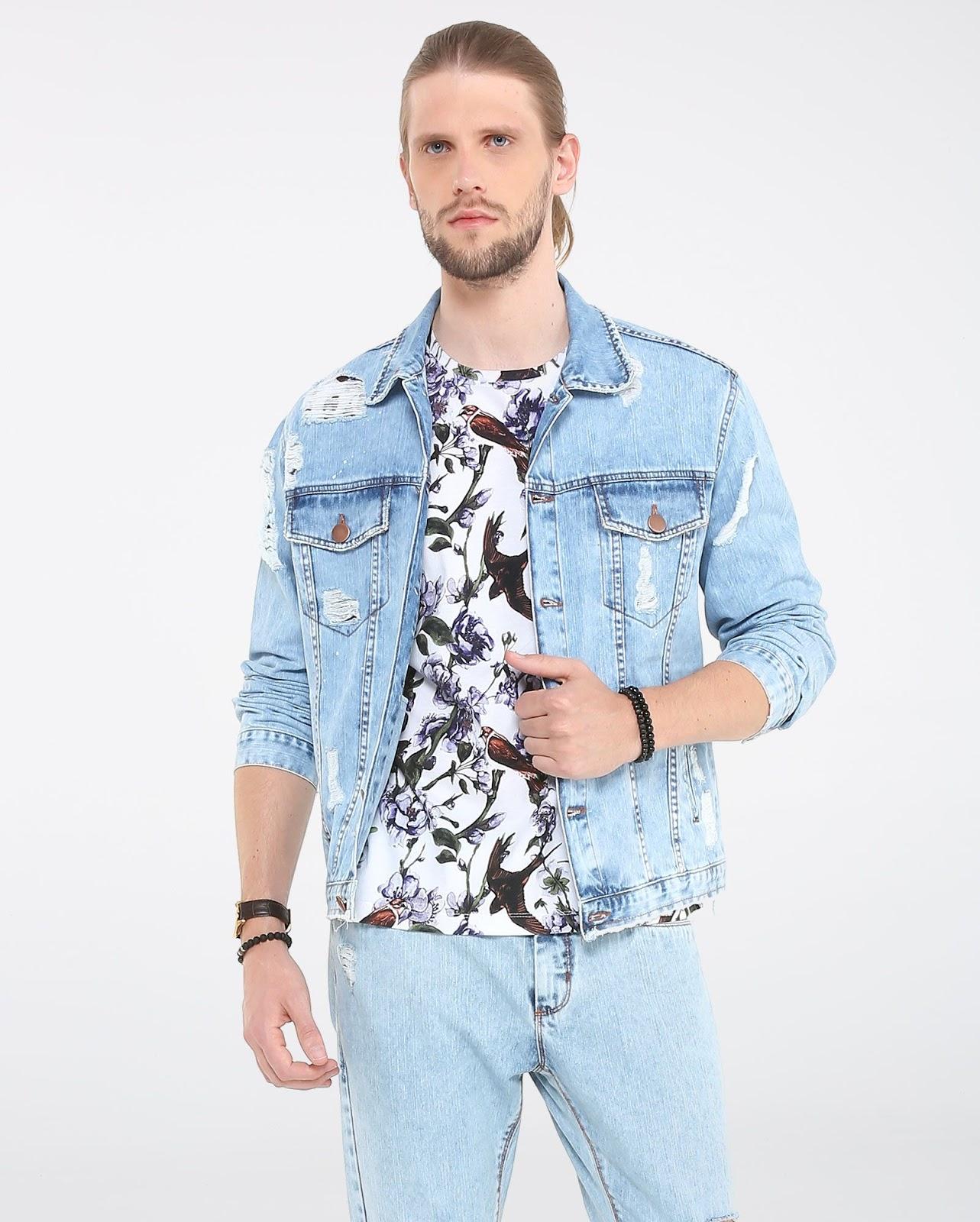 LEO KLEIN - KADU DANTAS PARA RIACHUELO - Jaqueta Jeans Destroyed