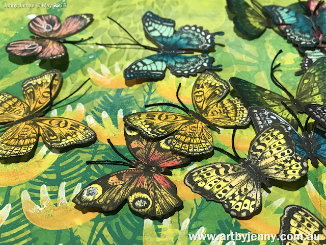 butterflies resting in an Australian art journal page