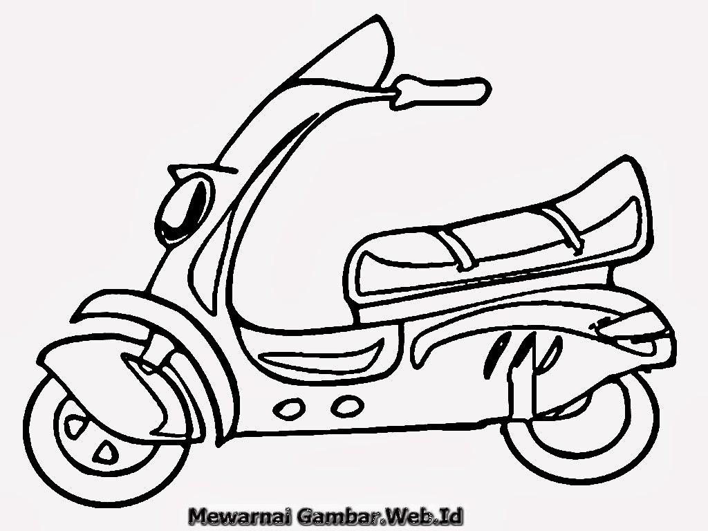 Gambar Sepeda Motor Untuk Mewarnai Terunik