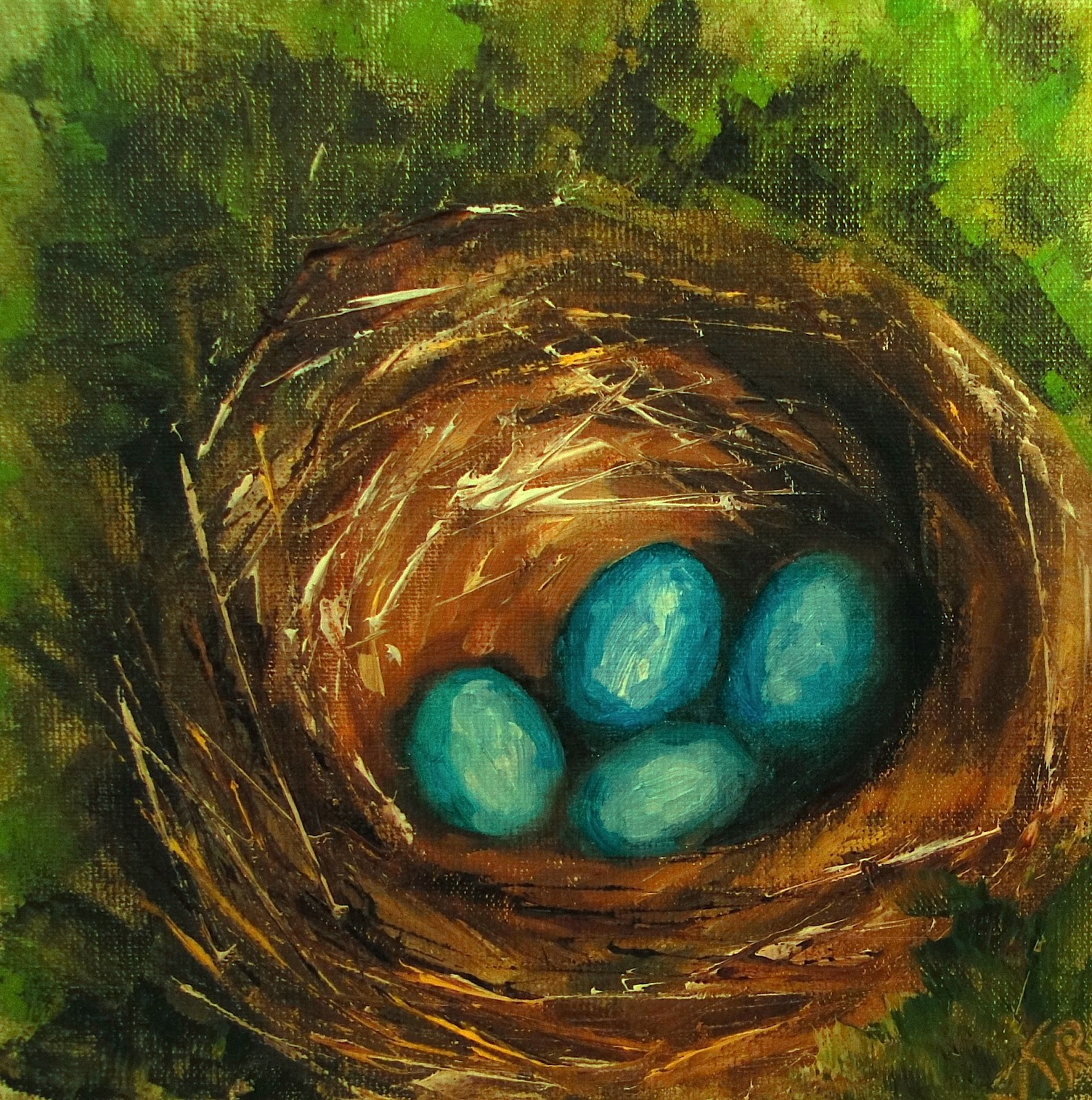 oil painting of a robin's nest, 4 robin's eggs, pet portrait by karen