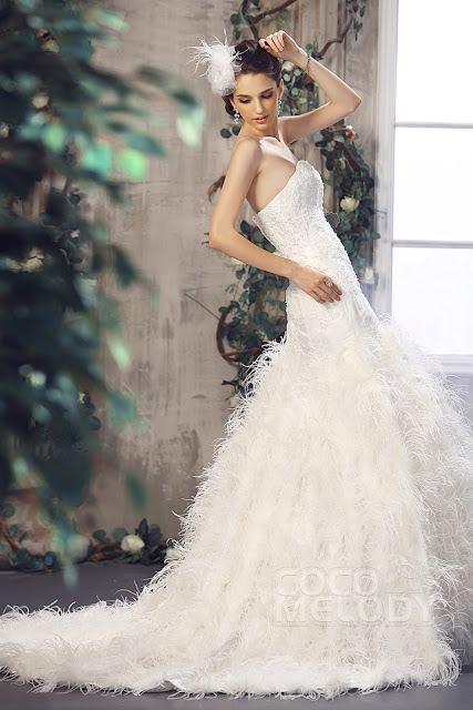 cocomelody wedding dress feathers